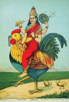 Goddess Bahucharji. Raja Ravi Varma, 19th c. Oleolithograph