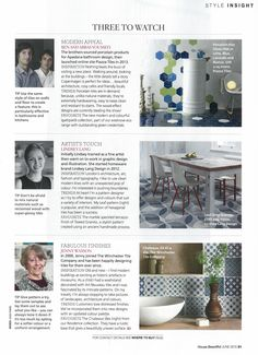 House Beautiful - June 2015. The Winchester Tile Company is one of three to watch thanks to its handmade tiles and gorgeous rustic designs. Our Chateaux tiles in blue and white look great mixed as a patchwork.