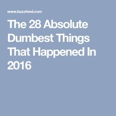The 28 Absolute Dumbest Things That Happened In 2016