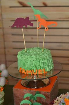 Cool cake at a dinosaur birthday party! See more party ideas at CatchMyParty.com!