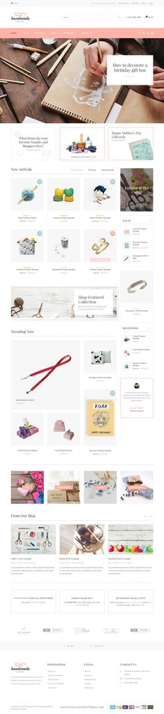 Handmade, the ultimate theme for Shopify, has been created as a great solution for online stores such as Craft, Jewelry, ArtWork, Vintage and #Creative Goods store. Comes in wonderful 4 homepage layouts. #eCommerce #website