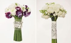 New Bouquet Wrap Idea: Vintage Wedding Gown Material