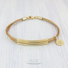 3 Gold Bar Leather Bracelet  Personalized Initial Bracelet by MuseByLAM, $30.00