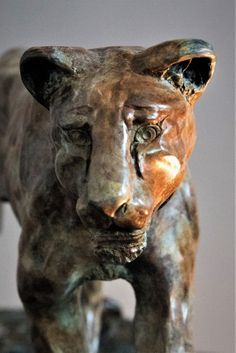 Best Cats sculptures : by Adrian Flanagan titled: 'Lioness (Bronze Pacing Hunting Tracking sculpture)'. -Read More – Big Cats, Cool Cats, Animal Sculptures, Lion Sculpture, Animal Garden Ornaments, Bronze Sculpture, Decorative Objects, Figurative Art, Saatchi Art