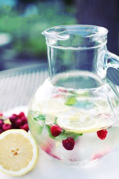 Raspberry and lemon water: http://www.stylemepretty.com/living/2015/05/12/18-essential-entertaining-pitcher-drinks/