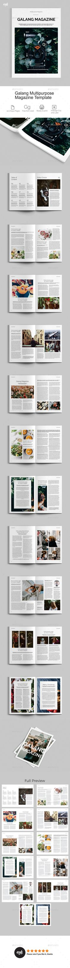 Galang Magazine Template InDesign INDD - 24 Unique Pages A4 and US Letter