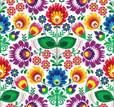 """Wall Mural """"sprang, ornament, flowers - seamless traditional floral polish pattern - ethnic"""" ✓ Easy Installation ✓ 365 Days Money Back Guarantee ✓ Browse other patterns from this collection!"""