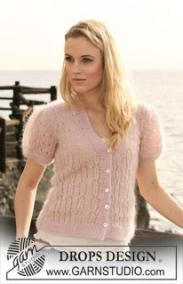 """Knitted DROPS jacket with short puff sleeves and lace pattern in """"Kid-Silk"""" and """"Glitter"""". - Free pattern by DROPS Design Drops Design, Cardigan Pattern, Knit Cardigan, Magazine Drops, Crochet Jacket, Sweater Weather, Clothing Patterns, Mantel, Amanda"""