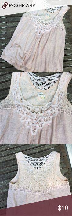 Anthropologie Meadow Rue tank top A soft pink flowy tank top with lace trim on the top and back. It's a SP, which is hard to find. I bought this from another posher and love love love it but it's a bit too tight across the chest for me. EUC. Anthropologie Tops Tank Tops