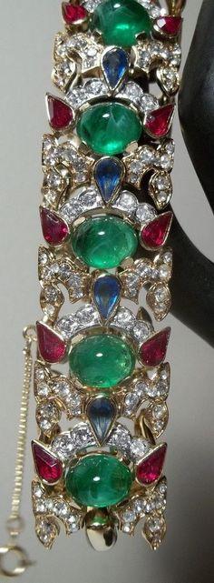 Vintage Crown Trifari Bracelet Jewels Of India Rhinestone Glass MASTERPIECE MINT #Trifari