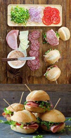 MINI ITALIAN SUB [USA Portland Maine Italian-American Cuisine NonTraditional] [Giovanni Amato] [applegate] [submarine sandwich sub wedge hoagie hero grinder blimpie gatsby po' boy zeppelin zep spuckie] Appetizer Sandwiches, Sandwich Bar, Sandwiches For Lunch, Wrap Sandwiches, Appetizer Recipes, Hoagie Sandwiches, Appetizers, Italian Sandwiches, Hot Sandwich Recipes