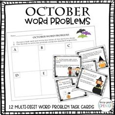 Aligns with fourth grade common core state standard: CCSS.Math.Content.4.NBT.B.4 Fluently add and subtract multi-digit whole numbers using the standard algorithm. 12 Halloween & Fall themed word problems that require using the standard algorithm to add and subtract multi-digit whole numbers.