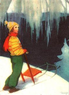 Bilderesultat for rudolf koivu illustrasjon Luge, Vintage Cards, Vintage Postcards, Children's Films, Girl Face Drawing, Xmas Greetings, Winter's Tale, Christmas Art, Christmas Photos
