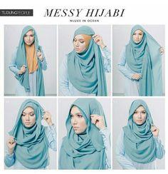 Hijabi style by TudungPeople – Hijab Fashion 2020 Easy Hijab Style, Hijab Turban Style, Simple Hijab, Hijab Outfit, Stylish Hijab, Hijab Casual, Hijab Chic, Tutorial Hijab Pesta, Hijab Style Tutorial