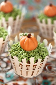 """Adorable pumpkin-inspired cupcakes -- love these for a """"Little Pumpkin"""" baby shower."""