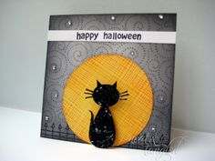 CUTE Halloween card for inspiration . A CAS-ual Halloween Mini Card - *Hero… Scrapbooking, Scrapbook Paper Crafts, Scrapbook Cards, Paper Crafting, Thanksgiving Cards, Holiday Cards, Christmas Cards, Halloween Moon, Halloween Cards