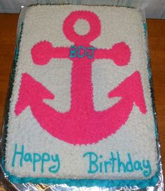 Anchor birthday cake 40th Birthday Parties, Birthday Cake Girls, Birthday Ideas, Happy Birthday, Anchor Birthday Cakes, Chevron Cakes, Chevron Anchor, My Favorite Food, My Favorite Things