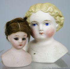 Two Antique Bisque Doll Heads ~ Simon Halbig Doll House and Parian Type