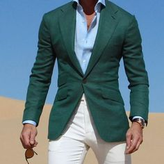 Mix&Match Dark Green Jacket suits With Ivory Pants 2017 Casual Wear Young Men Suit Fashion Party Prom Vestidos (Jacket+Pants) Blazer Outfits Men, Blazer Fashion, Mens Fashion Suits, Mens Suits, Men Blazer, Fashion Wear, Men's Outfits, Fashion Outfits, Fashion Trends