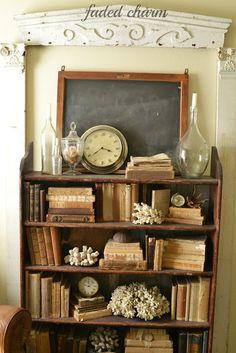 House Tour - Charming Cottage Clocks and antique books.Clocks and antique books. Antique Decor, Antique Books, Antique Shelves, Rustic Vintage Decor, Art Antique, Shabby Vintage, Vintage Antiques, Shabby Chic, Books Decor