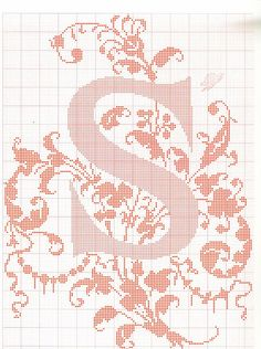 """cross stitch alphabet in 2 colors- very ornate monogram 26 single letters -- """"S'"""" #19"""