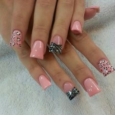 Pink Leopard Accent Duck Wide Tip Nails Solar Nail Designs Colorful