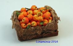12th Scale Miniature ** Peach Crate **...IGMA Fellow #Linsminis