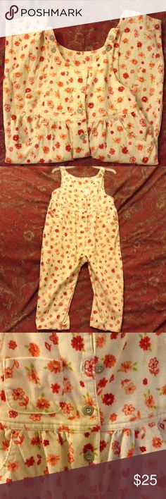 🆕 Cute Vintage Baby Girl Floral Corduroy Overalls The most adorable Overall Cords! Fall colors: Orange, tan, red, green, coral floral pattern on corduroy material. Button closure on shoulder straps and front. Pants have a pocket on upper chest area and two waist pockets. Snap closure in the crotch area. They are in excellent vintage condition. No tag. In my opinion these would fit 2T-3T.  🌟 Measurements: 29.5 inches from shoulder to pant hem; 12 inches across waist; 20 inches from waist to…
