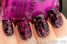 Lovely combo and accent. Black creme, a coat of KB Shimmer Showgirl and then Picture Polish Gene Doll to play up the magenta glitter more. Accent nail is China Glaze Flying Dragon (3x) stamped with the houndstooth pattern from BM-322.