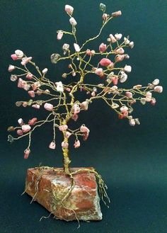Wire Gem Tree Large 8 Pink Rhodonite Home by AnnesWireGemTrees, $45.00