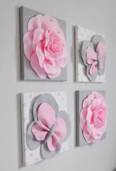 Pink and Gray Butterfly Decor nursery wall cover nursery wall panels Rose Flowers Sculptures Ornaments Decorative Housewares Rosa und grau Schmetterling Dekor Kinderzimmer Wand Decken Paper Flowers Diy, Felt Flowers, Rose Flowers, Baby Mädchen Mobile, Blanket On Wall, Wall Blankets, Diy And Crafts, Paper Crafts, Nursery Wall Murals