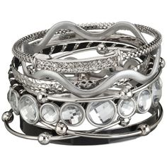 maurices 9 In 1 Mixed Metal Bangle Set (€14) ❤ liked on Polyvore featuring jewelry, bracelets, kohl jewelry, bracelet jewelry, mixed metal bracelet, black bracelet and black bangles