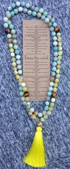 Mala Necklace New jade yellow agate and tiger's eye by LDTcreative