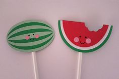Watermelon cupcake toppers set of 12 by JCPaperPlace on Etsy