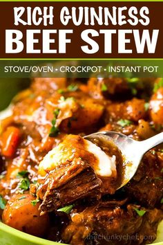 comfort food is the King of all Irish beef stews, with the Guinness and coffee flavors melding perfectly to give way to a deep, rich, lusciously savory sauce that simmers away to tenderize the beef and vegetables until they're spoonable! Irish Recipes, Top Recipes, Meat Recipes, Crockpot Recipes, Cooking Recipes, Amazing Recipes, Recipies, Healthy Recipes, Guinness Beef Stew