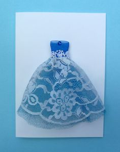 Beautiful White and Blue Lace Dress with by TheDRESSyCardGallery