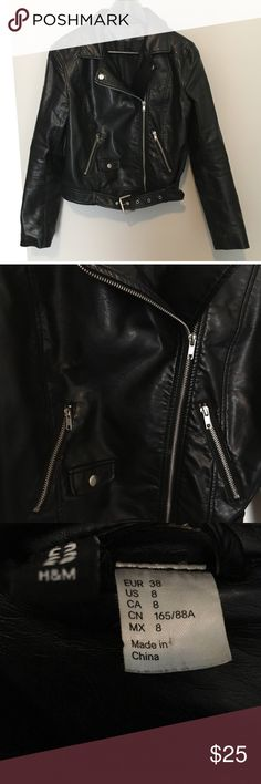 Black faux leather jacket  Perfect condition. Black, faux leather jacket. H & M. No wear. Jackets & Coats