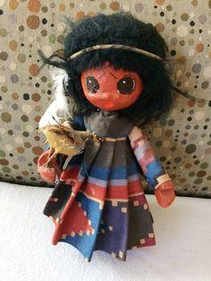 Vintage Lil' Luv Paper Mache Doll Handmade Native American Pima Holding Bird American Indian Decor, Unique Vintage, Vintage Items, Native American Indians, Christmas Shopping, Paper Mache, Etsy Store, Nativity, Teddy Bear