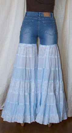 Whoa -- Bell bottom jeans made with a skirt.  What do u think of this?