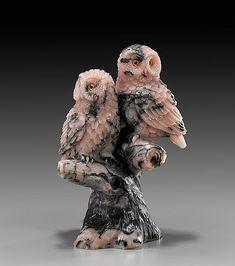 RHODONITE OWL PAIR CARVING