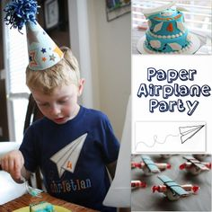Sewing Mama RaeAnna: Paper Airplane Party Flight School Poster, about of the way down the post Cheap Party Decorations, Kids Party Themes, Party Ideas, Theme Parties, Paper Airplane Party, Paper Plane, 3rd Birthday Party For Boy, Birthday Cakes, Birthday Ideas
