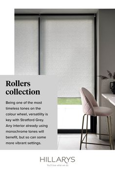 This combination of Stratford Grey Roller blinds is a great solution for your patio door in your kitchen, adding an element of depth and balance to the space. Providing ultimate control over both light and privacy, these Rollers are a sleek and simple choice in both their style and performance. View Stratford Grey Roller blind to get the look. Grey Roller Blinds, Patio Doors, Rollers, Monochrome, Space, Simple, Kitchen, Cucina