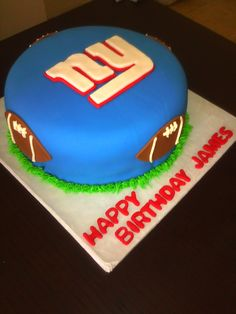 James is from New York and is staying loyal to his home team. The cake is a traditional pound cake with buttercream icing covered in fonda...