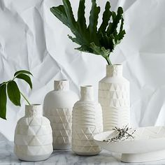 cool white vases in front of antique gold mirror/ Pressed Pattern Vases #westelm