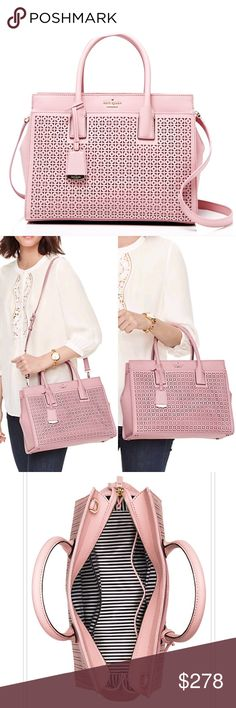New Kate Spade Cameron Street Perforated Satchel! WHAT A BEAUTY!! Talk about a tastefully designed and sophisticated bag, in a lovely shade of pink.  This is a mesmerizing and truly one of a kind Satchel.  For anyone who has become a fan of the perforated look (such as myself) this bag will not let you down. Classic shape in a non-traditional color, this leather bag features interior zip, double slide pockets, exterior slide compartment, adjustable and removable strap & removable luggage…