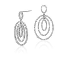 Our Diamond Three Oval Drop Earrings in 14k White Gold are perfect for your walk down the aisle!