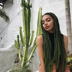 @NatalyNeri #cute #natural #hair #protective #style #olive #green #braids #cute #trendy #classy