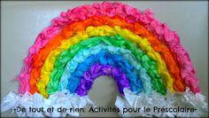 De tout et de rien: Activités pour le Préscolaire: Sticky wall rainbow craft with dyed frayed cotton balls - Bricolage d'arc-en-ciel sur papier contact avec des balles de cotton colorées effilochées.