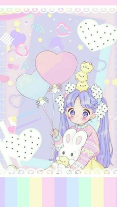 Image discovered by InuMaru. Find images and videos about wallpaper, kawaii and pastel on We Heart It - the app to get lost in what you love. Cute Anime Chibi, Kawaii Chibi, Kawaii Art, Cute Kawaii Girl, Kawaii Anime Girl, Anime Art Girl, Kawaii Wallpaper, Pastel Wallpaper, Wallpaper Fofos