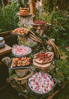 Cake Dessert Tree Stand Country Crafty Colourful Weekend Party Wedding http://www.noeldeasington.com/ Catering Display, Party Catering, Wedding Catering, Catering Table, Charcuterie Board, Wedding Buffet Food, Wedding Food Displays, Wedding Appetizer Table, Wedding Decorations
